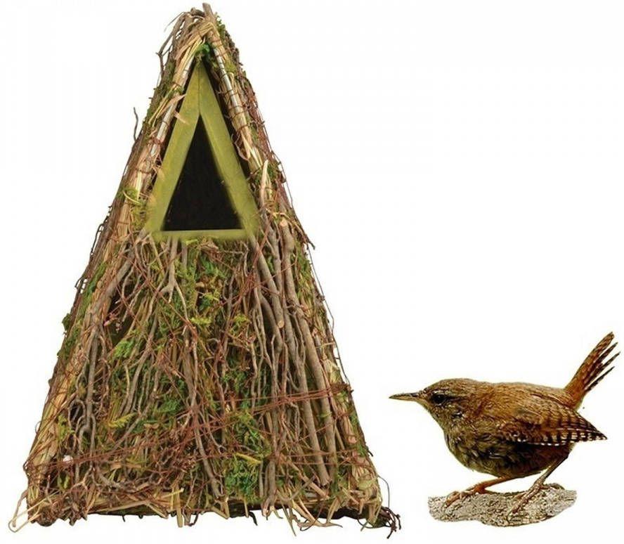 Merkloos Houten Vogelhuisje/nestkastje Groene Takjes/mos 24 Cm Tuindecoratie Vogelnest Nestkast Vogelhuisjes online kopen