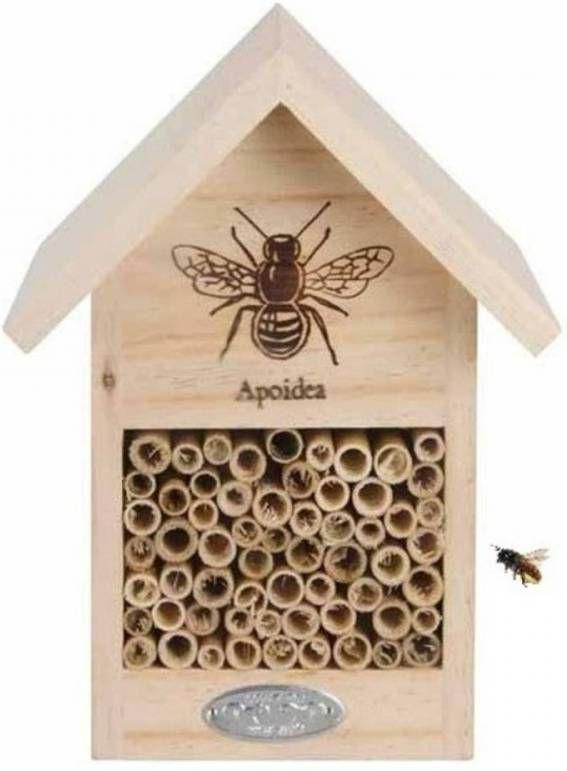 Merkloos Bijenhotel Huisje Vurenhout 23 Cm Insectenhotel online kopen