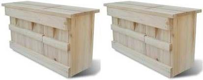 VidaXL Mussenhuizen 2 st 44x15,5x21,5 cm hout online kopen