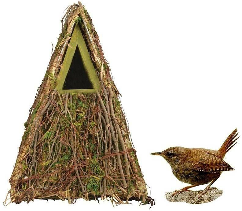 Merkloos Houten vogelhuisje/nestkastje groene camouflage 24 cm online kopen