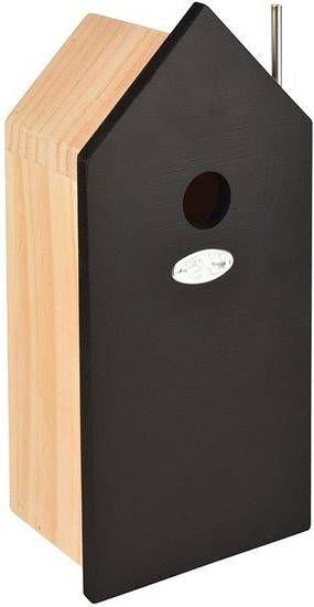 Merkloos Houten vogelhuisje/nestkastje zwart 32 cm online kopen