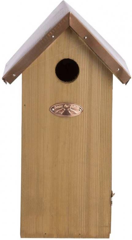 Merkloos Vogelhuisje/nestkastje koolmees koperen dakje 30 cm online kopen