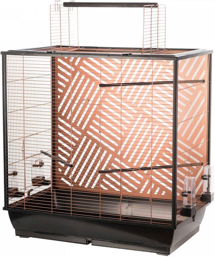 Flamingo Vogelkooi Siri Vogelverblijven 78x48x81.5/100 cm Koper Zwart online kopen