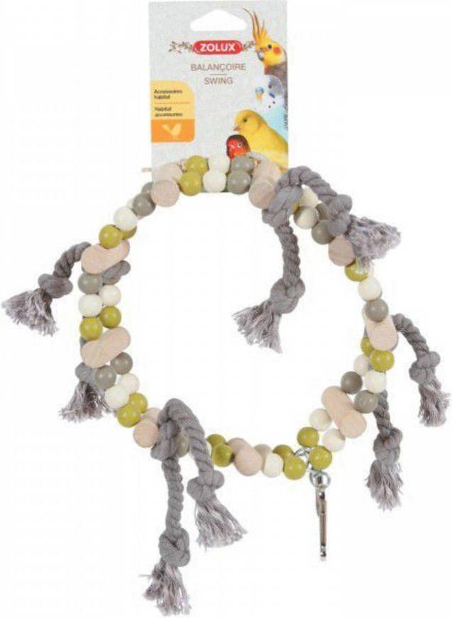 Zolux Houten Wiel Met Kralen En Touw Vogelspeelgoed 18x6x22 cm Grijs Beige Groen online kopen