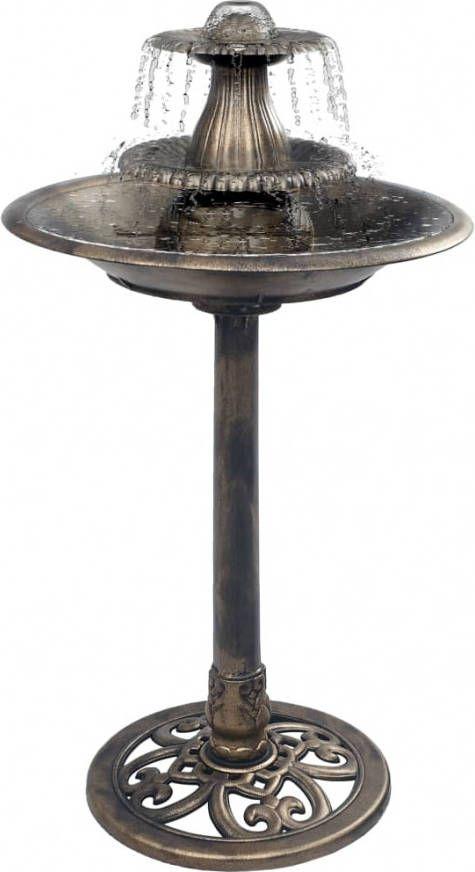 VidaXL Vogelbadje met fontein 50x91 cm kunststof bronskleurig online kopen